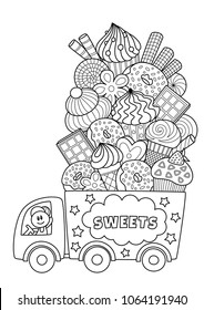 Outlined vector doodle anti-stress coloring book page truck with sweets. For adults and children