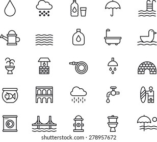 Outlined WATER related icons
