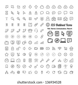 Outlined Web and Internet Icon Set Collections