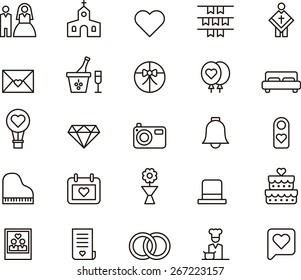 Outlined Wedding icons in white background