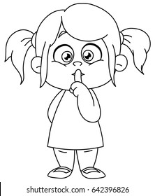 Outlined young girl with finger on lips making the silence sign. Vector line art illustration coloring page.