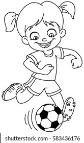 Outlined young girl playing soccer. Vector line art illustration coloring page.