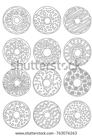 Outlined Zentangle Antistress Coloring Page Donuts Stock Vector