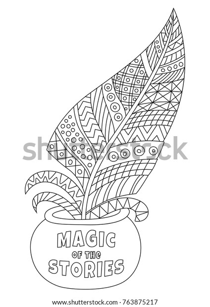 Outlined Zentangle Antistress Coloring Page Ink Stock Vector