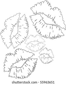 Outlines of 5 Sexy Lovely Luscious Lips