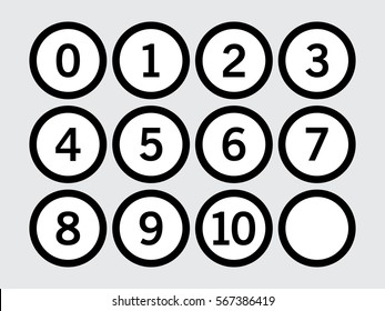 Outlines circle icon with numbers inside on gray background