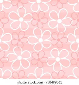 Outlines of cute flowers on striped background. Floral seamless pattern drawn by hand with brush. Sketch, doodle. Girly vector illustration.