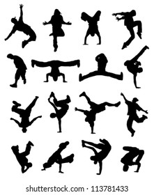 outlines of dancing teenagers on a white background