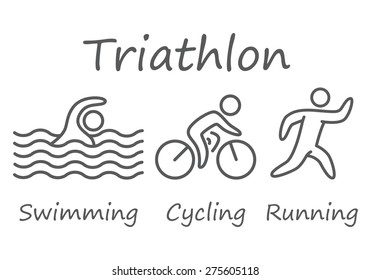 Outlines of figures triathlon athletes. Swimming, cycling and running vector symbols.