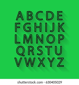 The outlines of the letters of the English alphabet in the style of a flat with shadow on green background.