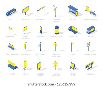 Out-of-home outdoor advertising isometric icons media set. Blue and yellow colour.