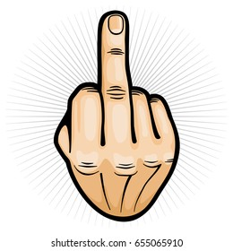Outrageous and contempt fuck you hand gesture vector illustration. Gesture finger hand middle sign