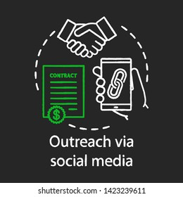Outreach via social media chalk concept icon. Social networks idea. Online PR.  Brand and content awareness. Build new relationships. Vector isolated chalkboard illustration