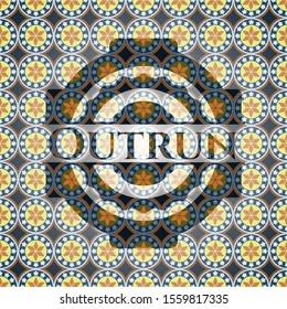 Outrun arabesque emblem background. arabic decoration.