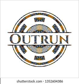 Outrun arabic badge. Arabesque decoration.