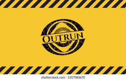 Outrun black grunge emblem with yellow background. Vector Illustration. Detailed.