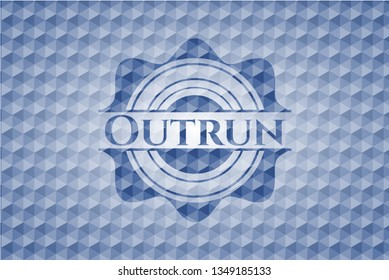 Outrun blue emblem with geometric background.