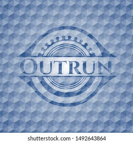 Outrun blue emblem with geometric pattern. Vector Illustration. Detailed.