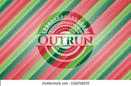 Outrun christmas colors emblem. Vector Illustration. Detailed.