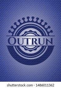 Outrun with denim texture. Vector Illustration. Detailed.