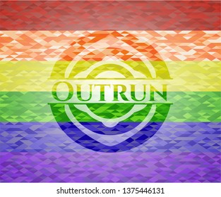 Outrun emblem on mosaic background with the colors of the LGBT flag