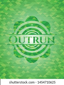 Outrun green emblem with mosaic ecological style background. Vector Illustration. Detailed.