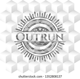 Outrun grey badge with geometric cube white background