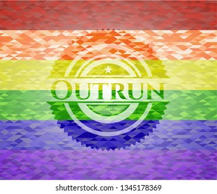 Outrun on mosaic background with the colors of the LGBT flag