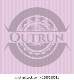 Outrun pink emblem. Retro. Vector Illustration. Detailed.