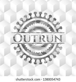 Outrun realistic grey emblem with geometric cube white background