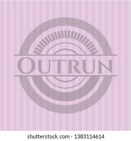 Outrun realistic pink emblem. Vector Illustration. Detailed.