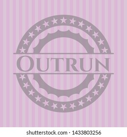 Outrun retro style pink emblem. Vector Illustration. Detailed.