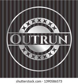 Outrun silvery shiny emblem. Vector Illustration. Mosaic.