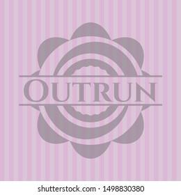 Outrun vintage pink emblem. Vector Illustration. Detailed.
