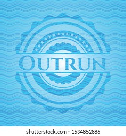 Outrun water wave style emblem. Vector Illustration. Detailed.