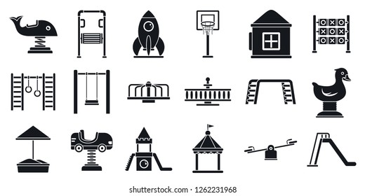 Outside kid playground area icon set. Simple set of outside kid playground area vector icons for web design on white background