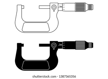 Outside micrometer. Precision measuring instrument. Flat vector illustration