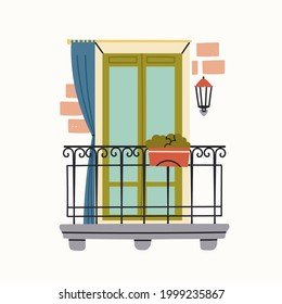 Outside Window or balcony doors. Flower pot, lamp on a wall, fencing. House Exterior. Hand drawn colored Vector illustration. Isolated on a white background. Print or logo template