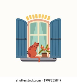 Outside Window icon. Blue wooden shutters, flower, cat sitting on a windowsill. House Exterior. Hand drawn colored trendy Vector illustration. Isolated on a white background. Print or logo template