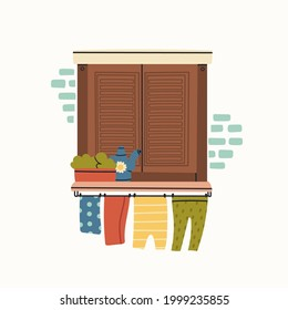 Outside Window icon. Closed wooden shutters, flowers, clothes dryer rope. Brick wall. House Exterior. Hand drawn colored Vector illustration. Isolated on a white background. Print or logo template