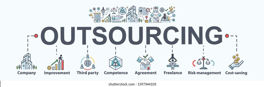 Outsourcing banner web icon for business working and company, Improvement, Third party, Competence, freelance, Risk management and cost saving. Minimal vector infographic.