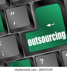 outsourcing button on computer keyboard key vector