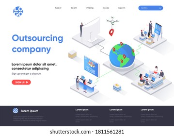 Outsourcing company isometric landing page. Remote workforce and freelancers recruiting isometry concept. Outsourcing software development service web page. Vector illustration with people characters.