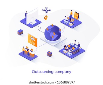 Outsourcing company isometric web banner. Remote workforce and freelancers recruiting isometry concept. Outsourcing software development 3d scene design. Vector illustration with people characters.