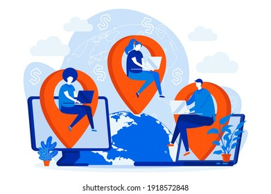 Outsourcing company web design concept with people characters. Developers team working scene. Software outsourcing composition in flat style. Vector illustration for social media promotional materials