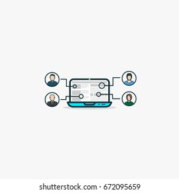 Outsourcing concept. Open laptop with web site and icons with human faces, avatars. Working on same project using web technologies and outsource work to other people. Internet job and managing.