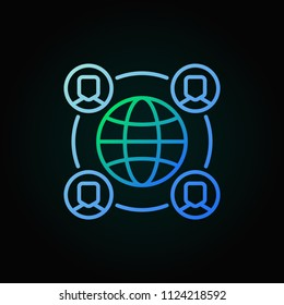 Outsourcing concept vector colorful icon with earth and people in thin line style on dark background