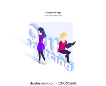 Outsourcing. A group of specialists working on a project. Outsourcing service. Outsourcing specialists. Modern vector illustration isometric style. Isolated