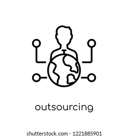 outsourcing icon. Trendy modern flat linear vector outsourcing icon on white background from thin line General collection, editable outline stroke vector illustration