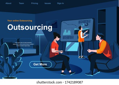 Outsourcing service isometric landing page. Developer and designer working with laptop in office website template. Professional and qualified outside resourcing perspective flat vector illustration.